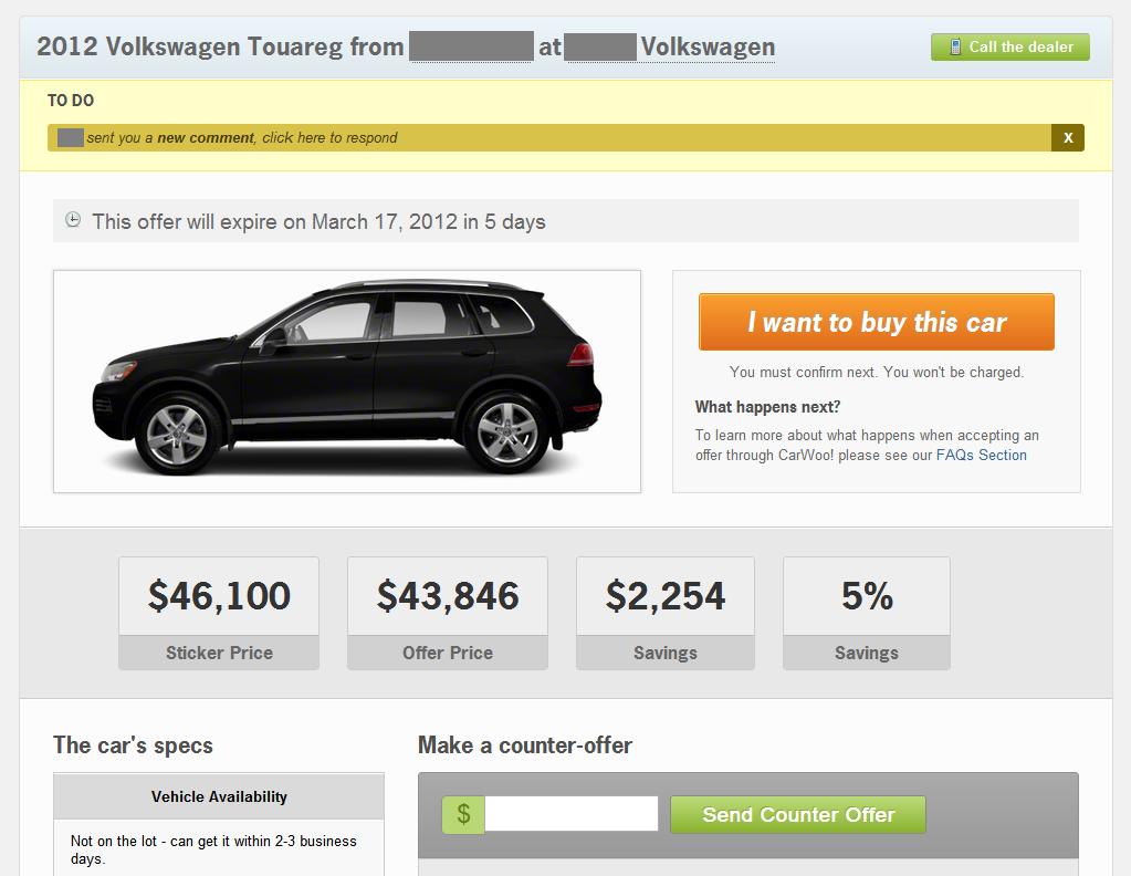 CarWoo offer details