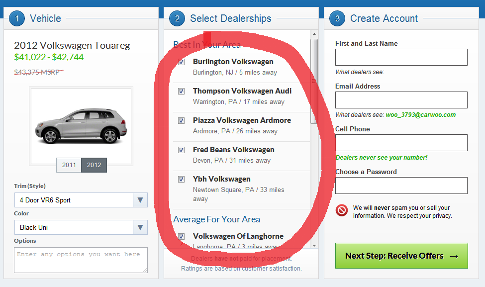 Create account and select dealerships