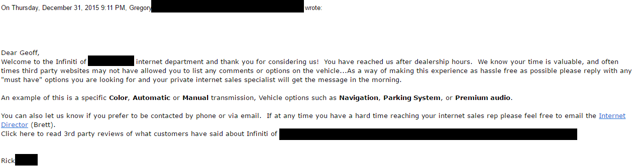 Car dealer email reply 2