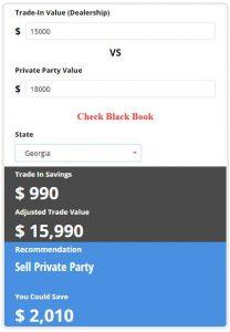 Trade in calculator screenshot